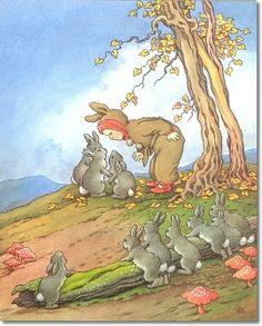 Ida Rentoul Outhwaite - Juvenile Nursery Rhymes Rhyme  Prints - Fairy Tales - Fairies - Fairy Print - by Ida Rentoul Outhwaite - Bye Baby Bunting Painting