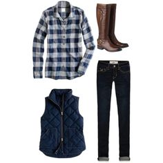 """""""Plaid Love"""" by southernbelle on Polyvore  I LOVE this outfit...im thinking i need that shirt and vest!"""