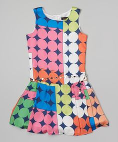 Laundry by Shelli Segal Blue & Pink Diamond Color Block Adrienne Dress - Girls by Laundry by Shelli Segal #zulily #zulilyfinds