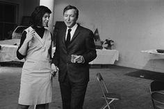 Jasper Johns and Susan Sontag; party at Robert Rauschenberg's loft