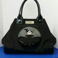 SALE Brighton K006034 My Flat In London XL Tote Mint Condition Brighton My Flat In London Black Nylon And Patent Leather Tote Shopper Brighton Bags Totes