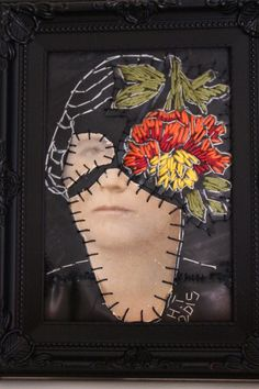 'n Blom van 'n meisie x 180 mm) Altered photograph, cotton thread and rubber South African Artists, Textiles, Painting & Drawing, Sculpture, Cotton Thread, Drawings, Face, Photography, Fashion