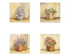 Quadro assortito in legno flower - 31x31x3 cm