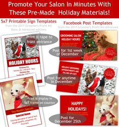 Ideas and templates for holiday promotions to run in your pet grooming salon throughout the month of December Grooming Shop, Pet Grooming, Salon Promotions, Holiday Hours, December Holidays, Dog Shop, Sign Templates, Dog Training, Salons