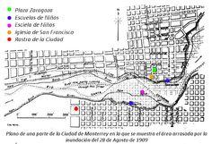 Mapa del área arrasada por la inundación de 1909 Monterrey