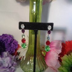 Vintage Colorful Rhinestone Pierced Earrings with Silvertone Backs 1.5 inches. The Colors are Green, Red, Clear and Black Rhinestones. by CCCsVintageJewelry on Etsy