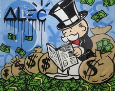 Available for sale from Avant Gallery, Alec Monopoly, Reading WSJ (2014), Acrylic and Spray-paint on canvas, finished in resin, 48 × 60 in