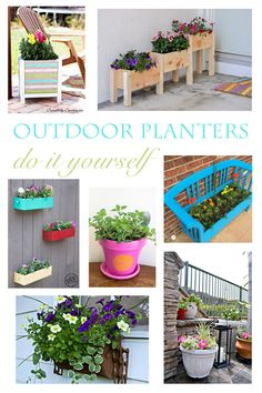 DIY Outdoor Planters to spruce up your outdoor spaces for Spring! Diy Planters Outdoor, Outdoor Fun, Outdoor Spaces, Outdoor Gardens, Planter Ideas, Planter Boxes, Outdoor Ideas, Garden Projects, Diy Projects
