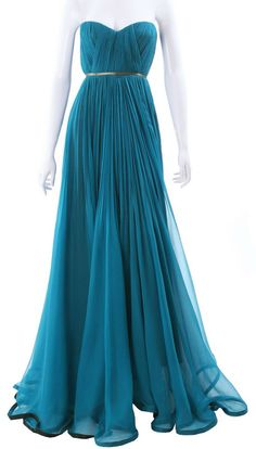 Maria Lucia Hohan - teal, strapless, silver waist belt, to the floor with black hem trim.