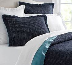 Solid Reversible Kantha Quilt & Pillowcase