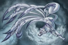Beautiful white kitsune with purple markings and long tails.