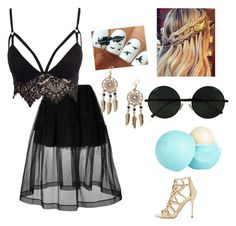 """""""boho goth"""" by onedirectionrocks12345 ❤ liked on Polyvore featuring Sergio Rossi, Simone Rocha, Club L, River Island and Boohoo"""