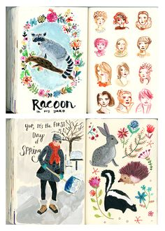 August Wren Sketchbook pages~Image © Jennifer Orkin Lewis (Spring 2015)