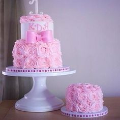 Granddaughter's first birthday cake and smash cake by Erin Church.  Pink shabby chic roses.  Beautiful!