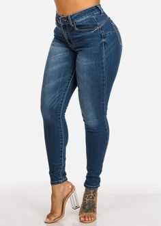 c6a97e6c88f High Rise Butt Lifting 1 Button Med Wash Skinny Jeans