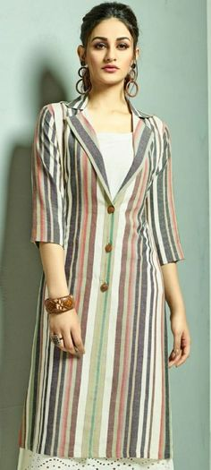 Dress Neck Designs, Designs For Dresses, Blouse Designs, Jacket Style Kurti, Kurti With Jacket, Ladies Kurti Design, Kurta Designs Women, Latest Kurti Designs, Kurti Sleeves Design