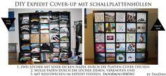 DIY Expedit Regal Cover-up mit Schallplatten-Hüllen DIY Expedit rack cover up with record sleeves