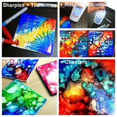 DIY Sharpie CoastersMake Sharpie Coasters using regular tile (not unglazed) from any home improvement store, rubbing alcohol, and a sealer. To find the right type of sealer I had to go to the post...
