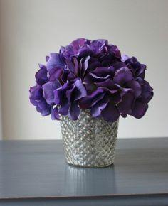 mercury glass planters with purple flowers | purple flowers mercury glass | Bottles, jars and vases