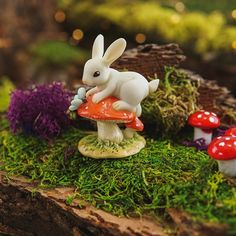 BUNNY ON MUSHROOM WITH BUTTERFLY - Miniature Expressions