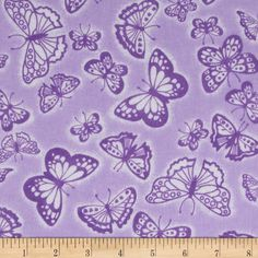 Flannel Tossed Butterflies Purple from @fabricdotcom  Designed for A.E. Nathan, this soft double-napped (brushed on both sides) flannel fabric is perfect for quilting, apparel, crafts, and home decor accents. Colors include purple and white.