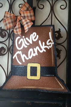 Thanksgiving burlap door hanger. Fall door by ConnieRisleyCrafts