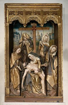 The Lamentation, ca. 1480, Castile, Spain. The highly emotional, wrenching expressions on the faces of the standing figures in this shrine are heavily influenced by the work of the South Netherlandish painter Rogier van der Weyden (ca. 1399–1464). Indeed, it is possible the Spanish workshop that created this work included at least one Netherlandish artist. The shrine was originally the center section of an altarpiece from the ruined Benedictine monastery of Sopetrán, northeast of Madrid.