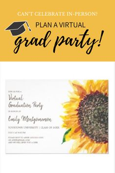 Yellow And Brown, Bright Yellow, Graduation Party Invitations, Online Invitations, Yellow Sunflower, High School Graduation, Class Of 2020, How To Get, How To Plan