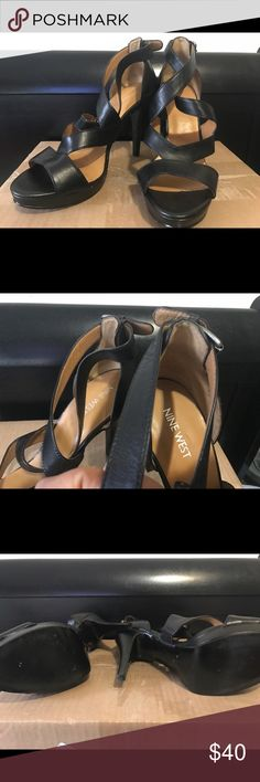 Nine West Open Toe black heels Worn twice cant wear heels for nothing...been in the closet trying to get rid of them...Size 10M all black open toe very comfortable wore them for my birthday...I do not have the box any questions just let me know Paid $85 selling for $40 or an offer Nine West Shoes Heels