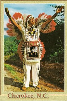 The Cherokee Indian Reservation is located on the edge of the Great Smoky Mountains National Park and is the home of the Eastern Band of Cherokee Indians. These Indians are descended from those who fled to the rugged heart of the Smokies to avoid the removal to Oklahoma. (Photo - Ramsey Walkingstick)  Cherokee Indian_white clothing by SC_postcard_trader, via Flickr
