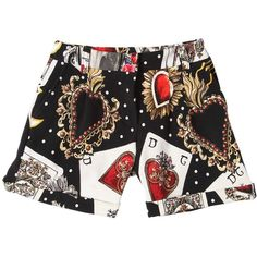 Dolce & Gabbana Kids-girls Cards & Hearts Cotton Interlock Shorts ($245) ❤ liked on Polyvore featuring black