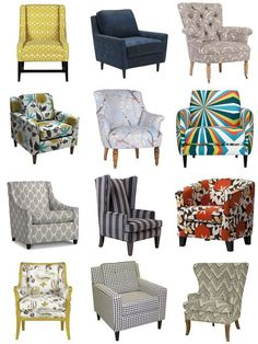 the hunt for a great accent chair to complete our master bedroom and bathroom remodel. I can't decide!On the hunt for a great accent chair to complete our master bedroom and bathroom remodel. I can't decide! Accent Chairs For Living Room, Living Room Decor, Home Confort, Home Furniture, Furniture Design, Grey Furniture, Patterned Chair, Upholstered Chairs, Chair Upholstery