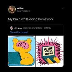 Stupid Funny Memes, Funny Relatable Memes, Funny Posts, Funny Cute, Hilarious, Adhd And Autism, Cry For Help, I Can Relate, Mental Illness
