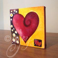 Romantic Art MODERN ART HEART 5x5 Oil on Canvas Art for by nJoyArt
