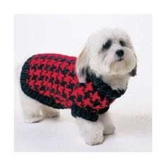 Houndstooth Dog Sweater a free pattern from Vogue Knitting. I think this is on my Christmas to-do list! Dog Sweater Pattern, Crochet Dog Sweater, Dog Pattern, Free Pattern, Knitting Patterns For Dogs, Coat Patterns, Clothes Patterns, Crochet Dog Clothes, Pet Clothes