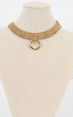Pair this metallic chain collar hoop necklace with your night dress for an elegant look. I MakeMeChic.com