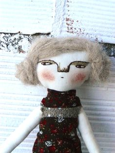 Simona Rag doll on  cotton. Alpaca and silk hair. Hand embroidered