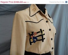 New listing in my shop...novelty embroidered weatern shirt from 1940s https://www.etsy.com/listing/190545501/on-sale-1940s-westen-ranch-wear-novelty