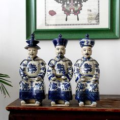 Chinesische Deko-Figuren, Qing Dynastie, Kaiser-Skulpturen Maße: 35 x 13 x 13 cm