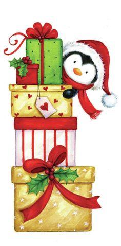 Cartoon christmas penguin feeding PNG and Clipart Decoration Christmas, Noel Christmas, Christmas Animals, Christmas Gift Tags, Christmas Pictures, Vintage Christmas, Christmas Ornaments, Cartoon Christmas Presents, Christmas Cartoons