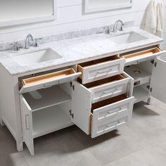 OVE Decors 72 in. Double Sink Bathroom Vanity, Grey