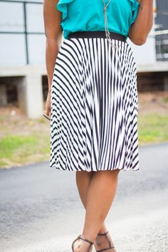 Pleated Striped Maxi Skirt