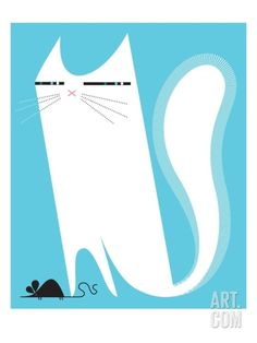 Cat catching mouse Stretched Canvas Print by Kirsten Ulve at Art.com