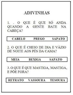 Atividades para alfabetização - Adivinhas.