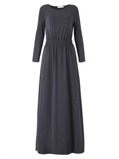 Sale 29% (21.29$) - Women Casual Long Sleeve Solid Color Waist Slim Maxi Dress