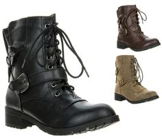 New Soda Women's Ankle Buckle Lace Up Military Combat Army Boot NOVA-H sizes #Soda #Military