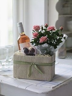 Housewarming gift or get well/ Like the ticking material on the box. Housewarming gift or get well/ Like the ticking material on the box. Hostess Gifts, Holiday Gifts, Housewarming Gifts, Creative Gifts, Unique Gifts, Leaving Gifts, Wine Gift Baskets, Get Well Gifts, Gift Hampers