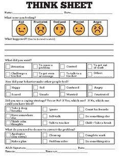 This is a great tool for special education and general education students who need to reflect on their behavior and learn to make better choices. Behavior Reflection Think Sheet Special Education Behavior, Classroom Behavior Management, Behaviour Management, Behavior Plans, Behavior Sheet, Student Behavior, Physical Education, Education Galaxy, Texas Education
