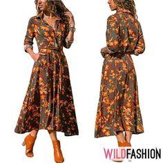 Această rochie elegantă îți pune în valoare feminitatea prin model și culoare: 👗🏵️🍂🍁 Pune, Dresses With Sleeves, Spandex, Long Sleeve, Floral, Casual, Fashion, Moda, Gowns With Sleeves