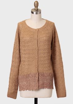 Caramel Cider Lace Detail Cardigan at #Ruche @Ruche